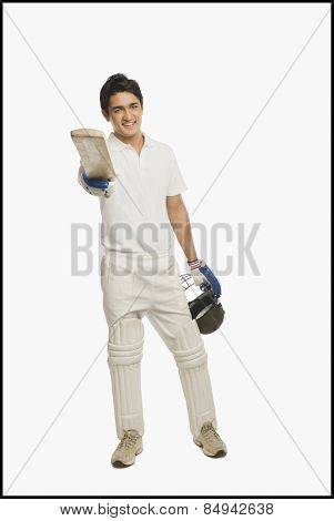 Portrait of a batsman celebrating his success