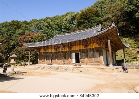 Yeongju, Korea - October 15, 2014: Muryangsujeon Hall At The Buseoksa Temple.