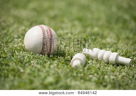 Close-up of a cricket ball with bails