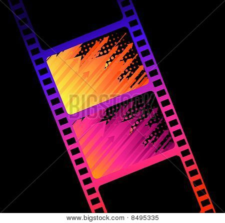 Blank film colorful strip on a background for a design poster