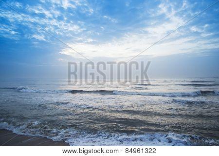 Waves on the beach, Mahabalipuram, Kanchipuram District, Tamil Nadu, India