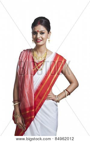 Portrait of Bengali woman in traditional sari poster