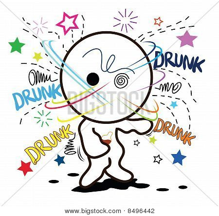 Cartoon drunk cute
