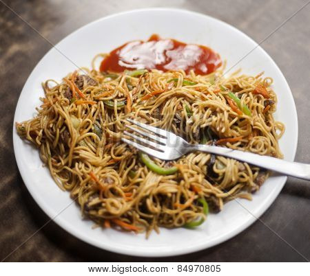 Close-up of a plate of chowmein
