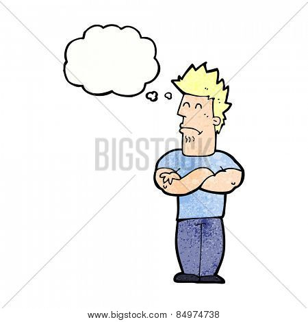 cartoon sulking man with thought bubble