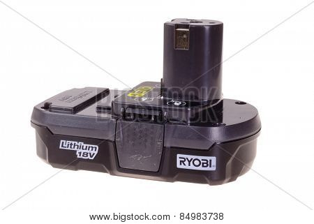 Hayward, CA - March 1, 2015: Ryobi 18 volt Lithium battery used on their power tools