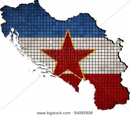 Yugoslavia map with flag inside