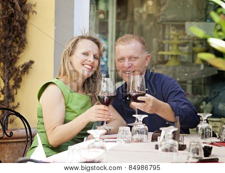 Middle Age Couple In Café