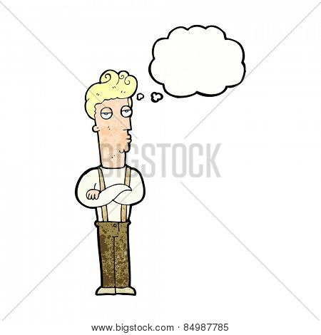 cartoon unimpressed man with thought bubble
