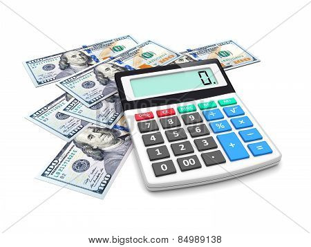 Business improvement finance analyzing and accounting concept. Dollar money and electronic calculator on a white. 3d image poster