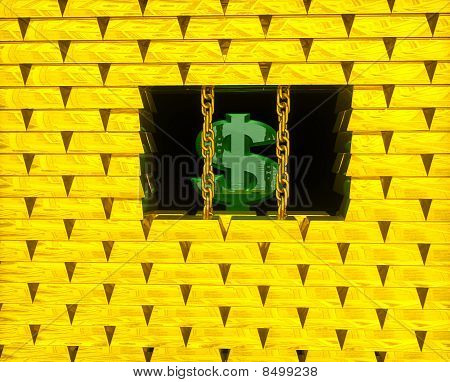 Dollar In Gold Cage