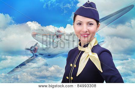 Portrait of beautiful smiling stewardess