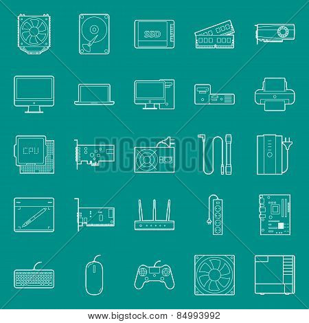 Computer components and peripherals thin lines icons set graphic illustration design poster