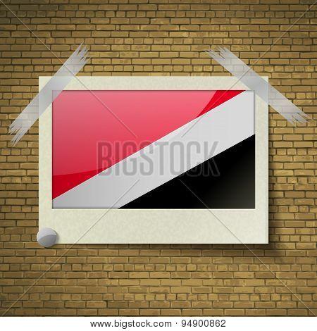 Flags Sealand Principalityat Frame On A Brick Background. Vector