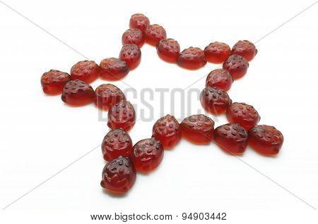 Star of gummi red strawberry jelly