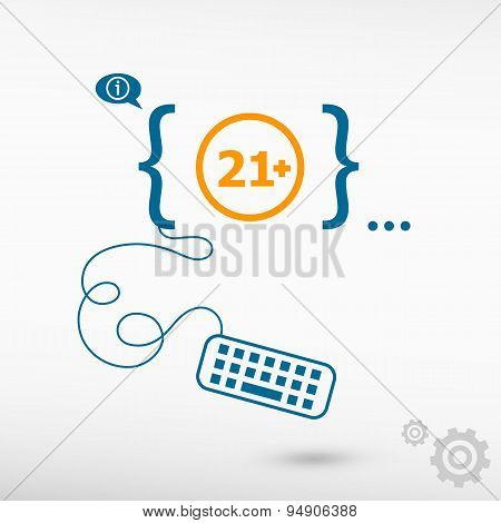 21 Plus Years Old Sign. Adults Content Icon And Flat Design Elements