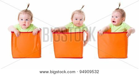 Collage Of Pretty Baby Girl In Boxes