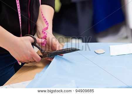 Cutting Fabric With Big Old Steel Scissors