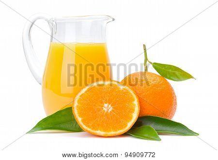 Orange Fruits And Jug Of Juice