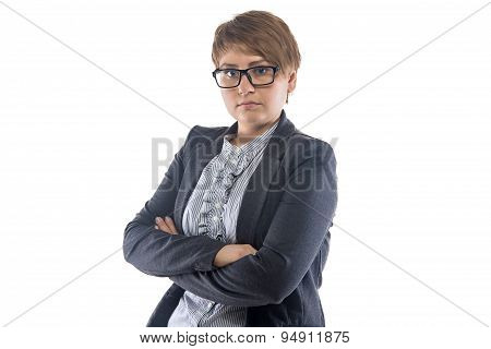 Photo pudgy woman in glasses with arms crossed