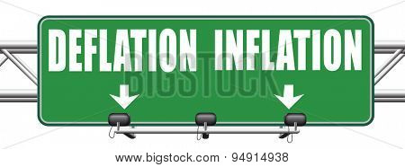 inflation deflation bank crisis or financial and economic recession or stock market crash or rise road sign arrow  poster