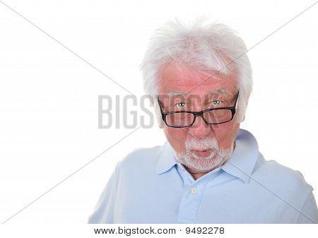 Surprised man on white background.