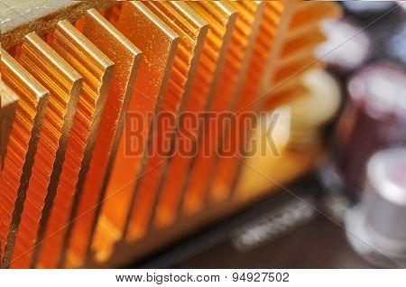 Copper Heat Sink On Computer Motherboard
