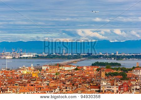 Bridge between the island and Venice Mestre, Italy
