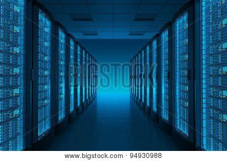 Server Room In Datacenter.