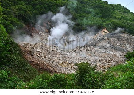 View of the Sulphur Springs Drive-in Volcano near Soufriere Saint Lucia. poster