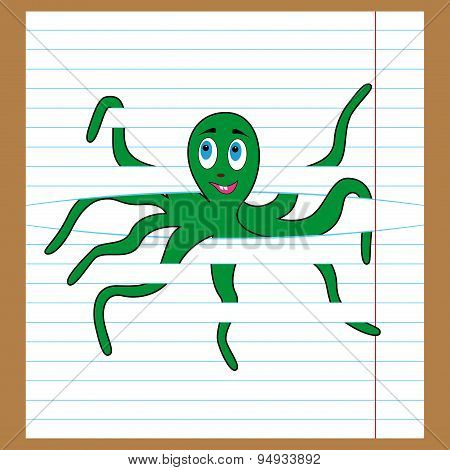 Green Octopus Caught On The Lines Of Sheet