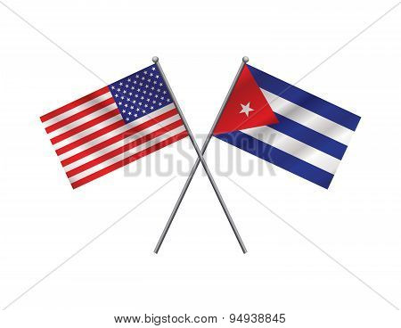 American And Cuban Flags Illustration
