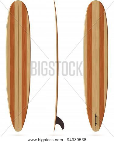 Vector surfing longboard with wooden texture
