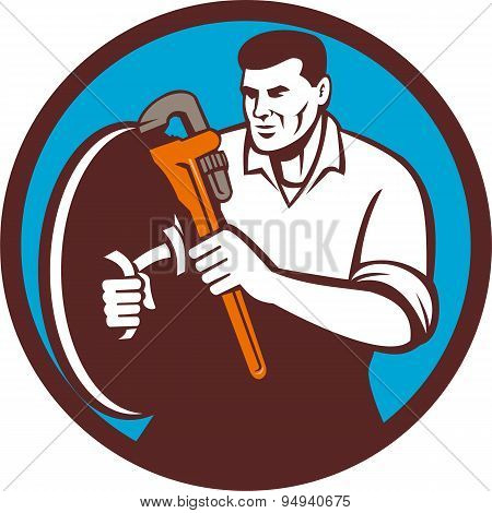 Plumber Brandishing Wrench Circle Retro