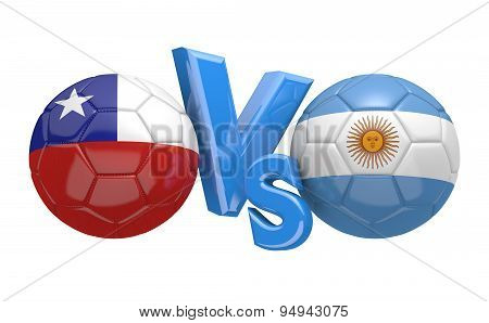 Soccer competition, national teams Chile vs Argentina