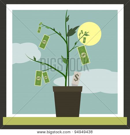 Money Sprouting - dollar bills sprouting from stems
