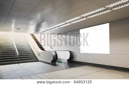 Billboard Banner Neon box Mock Up In Subway With Escalator poster