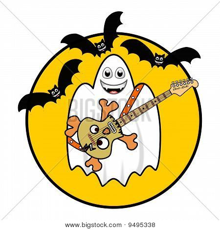 Halloween Ghost Playing Guitar