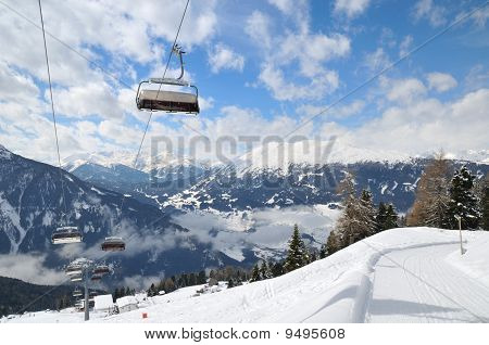 Ski Lift In Winter Mountain Landscape