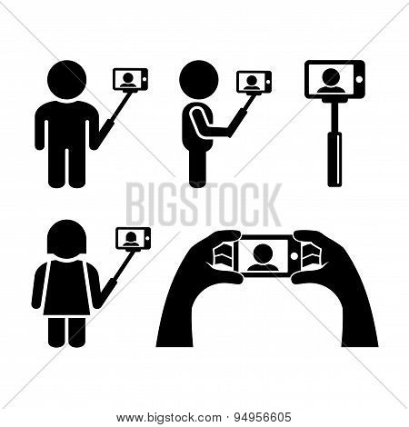 Selfie With Mobile Phone Icons Set. Vector