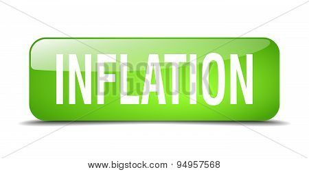 Inflation Green Square 3D Realistic Isolated Web Button