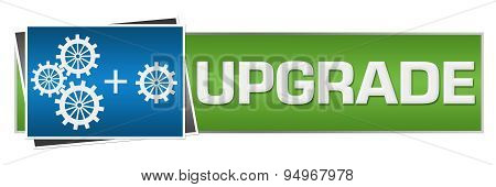Upgrade With Gears Blue Green Horizontal