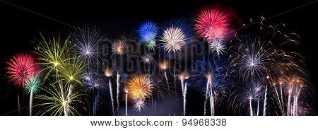 multiple firework blasts against night sky black background poster