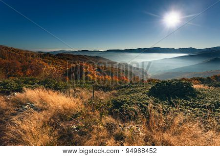 Fall Mountain Landscape Towards The Rising Sun