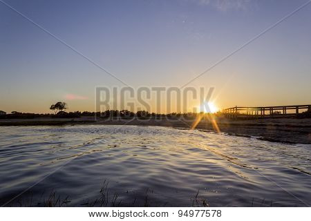 Algarve Cavacos Beach Sunset Seascape At Ria Formosa Wetlands Reserve, Southern Portugal.