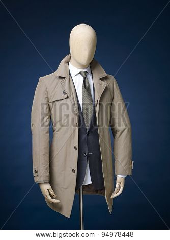 Mens Jacket Isolated On A Blue Background