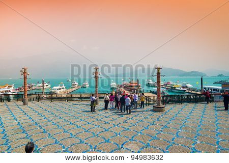 SUN MOON LAKE - MARCH 20: Boats parking in morning at the pier on March 20 2015 at Sun Moon Lake Taiwan. Sun Moon Lake is the largest body of water in Taiwan as well as a tourist attraction.