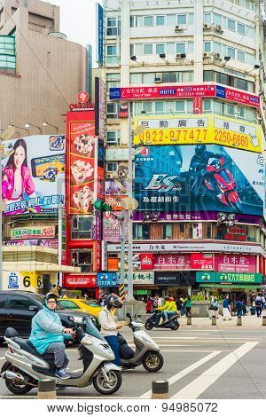 TAIPEI TAIWAN - MARCH 21: Ximending District MARCH 21 2015 in Taipei TW. Originally developed during Japanese colonial rule the district is now the source of Taiwan's fashion subculture.