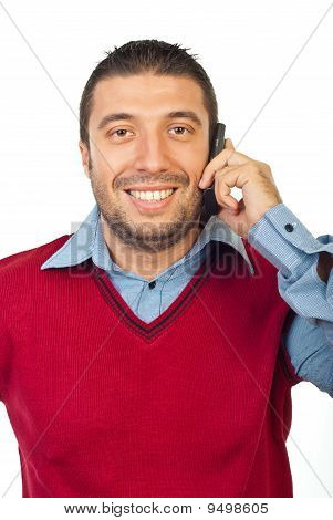 Man Having Conversation By Phone Mobile