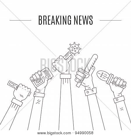 Hot news illustration. Hands of journalists holding voice recorders and microphones. Live news vector concept with place for your text. poster